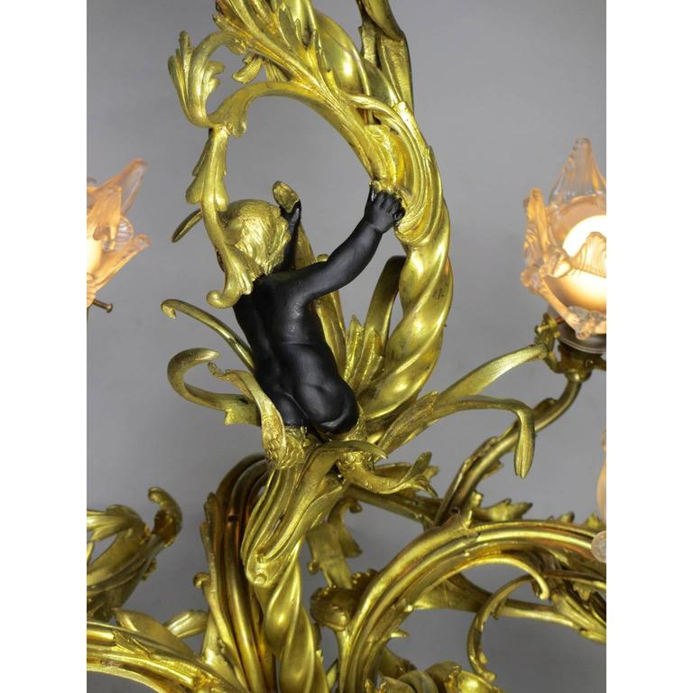 French Belle Époque Gilt Bronze Four-Light Whimsical Chandelier In Excellent Condition For Sale In Los Angeles, CA