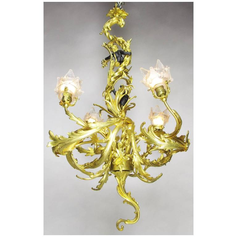 French Belle Époque Gilt Bronze Four-Light Whimsical Chandelier For Sale 1