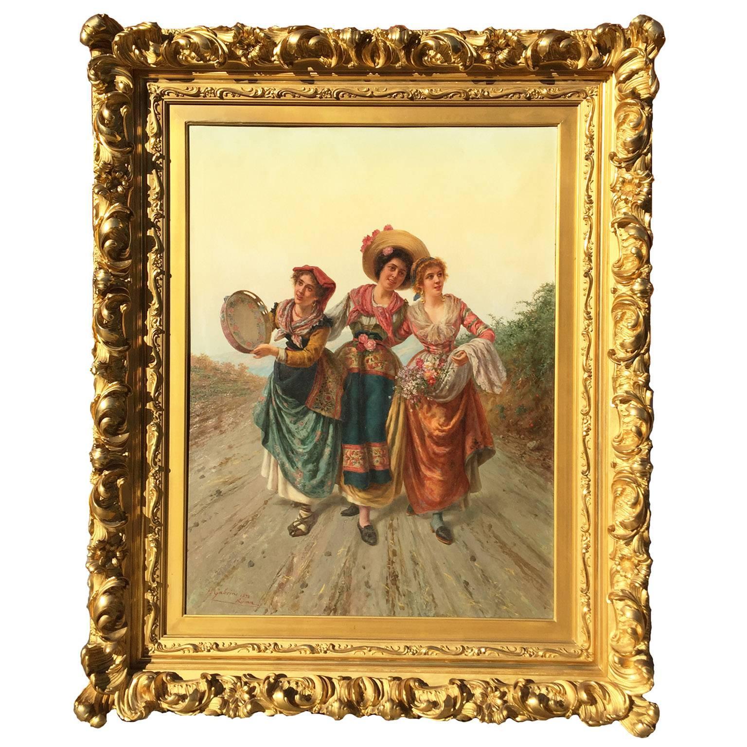 "Pietro Gabrini Large Oil on Canvas ""Three Singing Beauties"""