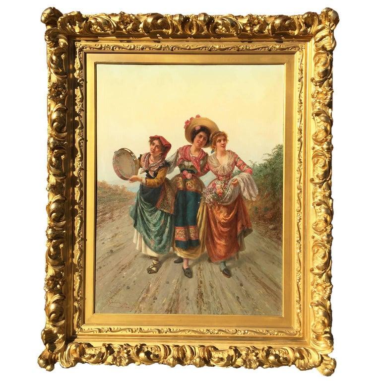 "Pietro Gabrini Large Oil on Canvas ""Three Singing Beauties"" For Sale"