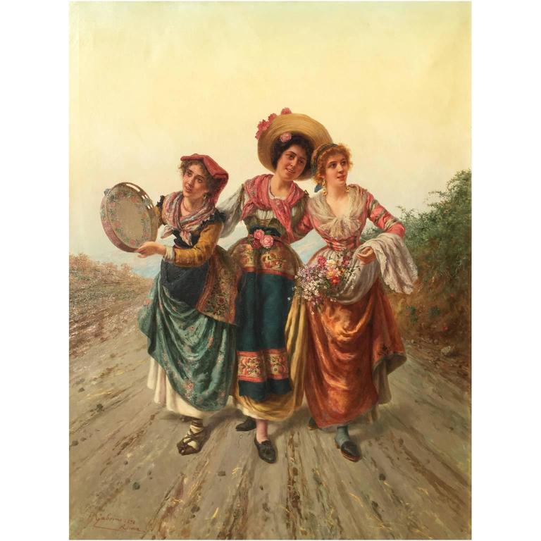 Pietro Gabrini (Italian, 1856-1926) a very fine and large oil on canvas