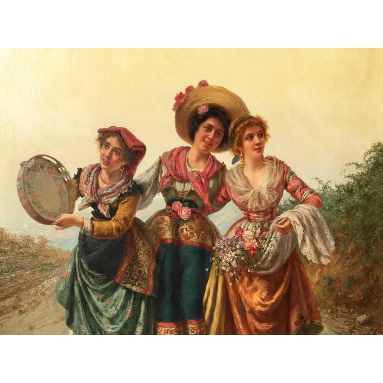 Baroque Revival Pietro Gabrini Large Oil on Canvas