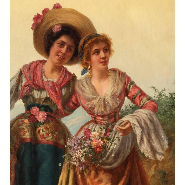 Gilt Pietro Gabrini Large Oil on Canvas
