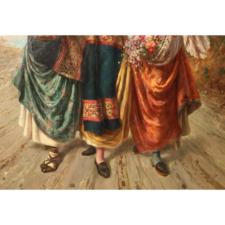 19th Century Pietro Gabrini Large Oil on Canvas