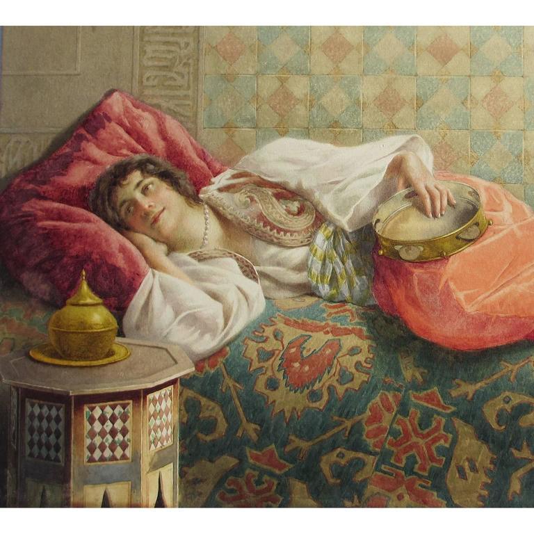 Islamic Francesco Ballesio, a Fine Orientalist Pencil and Watercolor For Sale