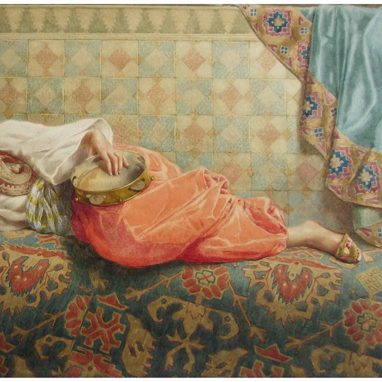 Italian Francesco Ballesio, a Fine Orientalist Pencil and Watercolor For Sale
