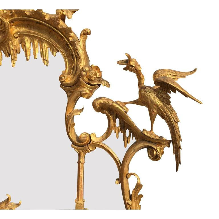 Fine 19th Century Chippendale Style Gilt Wood Carved Mirror after Thomas Johnson In Excellent Condition For Sale In Los Angeles, CA