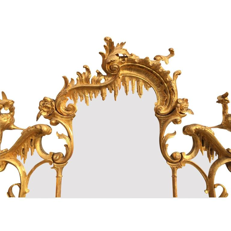 Fine 19th Century Chippendale Style Gilt Wood Carved Mirror after Thomas Johnson For Sale 1