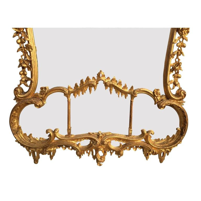 Fine 19th Century Chippendale Style Gilt Wood Carved Mirror after Thomas Johnson For Sale 2