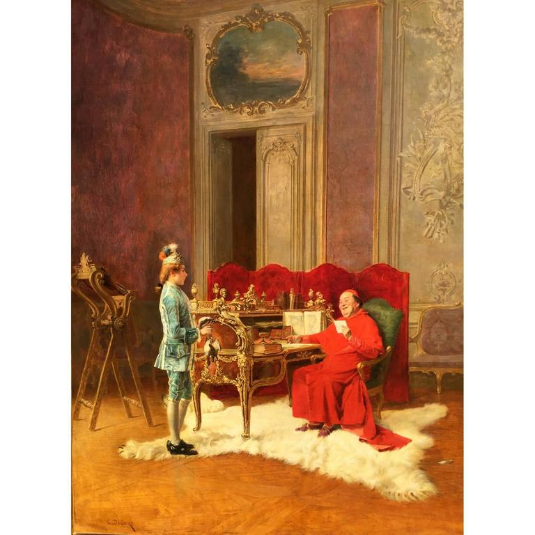 "Charles Edouard Edmond Delort (French, 1841-1895) oil on canvas ""Game for the Cardinal"", depicting a seated cardinal behind an ornate French Louis XV roll-top Bureau du Roi, after the model by Jean-François Oeben currently at Versailles,"