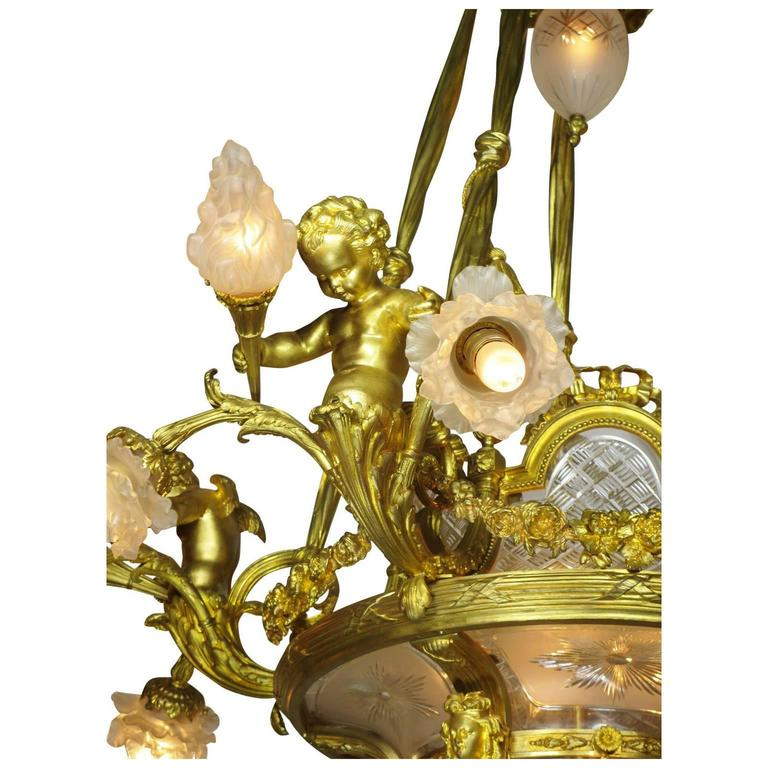 Fine French 19th-20th Century Louis XV Style Gilt Bronze and Baccarat Chandelier In Excellent Condition For Sale In Los Angeles, CA