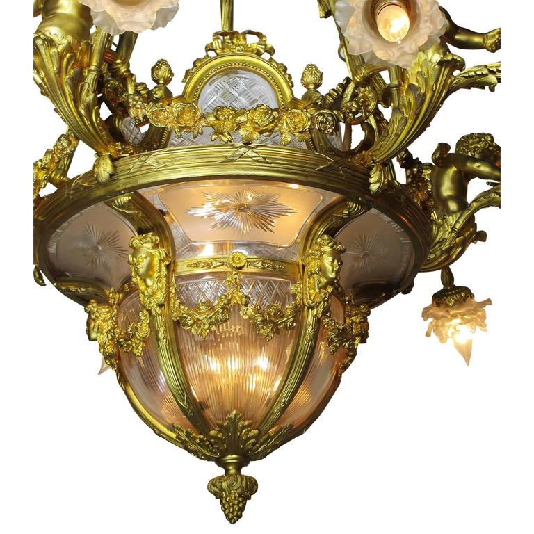 Early 20th Century Fine French 19th-20th Century Louis XV Style Gilt Bronze and Baccarat Chandelier For Sale