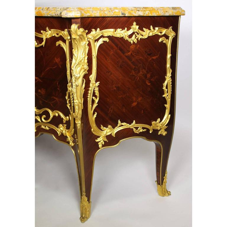 Fine Pair of 19th Century Louis XV Style Gilt Bronze-Mounted Commodes For Sale 1