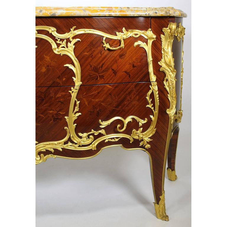 Satinwood Fine Pair of 19th Century Louis XV Style Gilt Bronze-Mounted Commodes For Sale