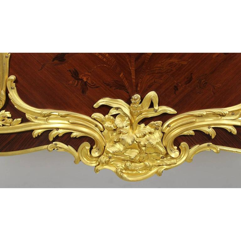 Fine Pair of 19th Century Louis XV Style Gilt Bronze-Mounted Commodes For Sale 2