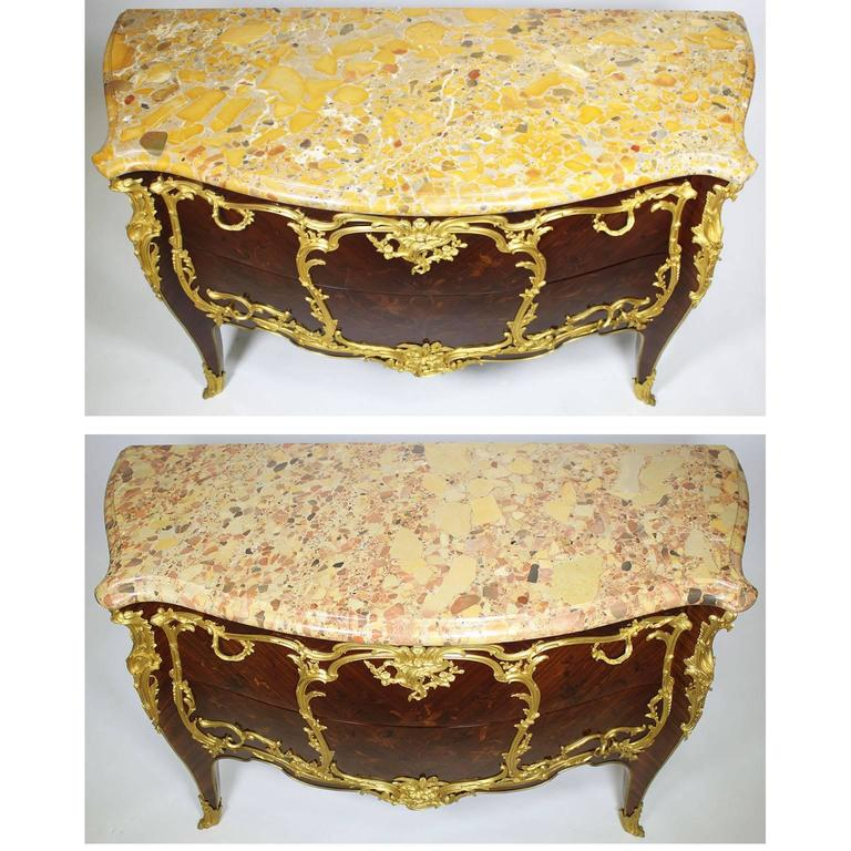 Fine Pair of 19th Century Louis XV Style Gilt Bronze-Mounted Commodes For Sale 3