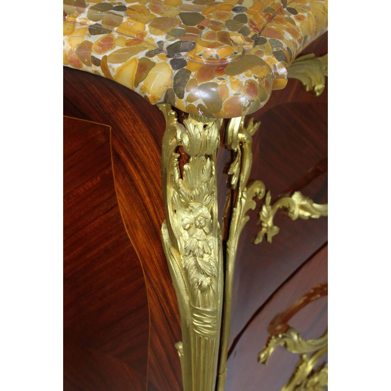 French 19th-20th Century Louis XV Style Ormolu-Mounted Commode For Sale 1