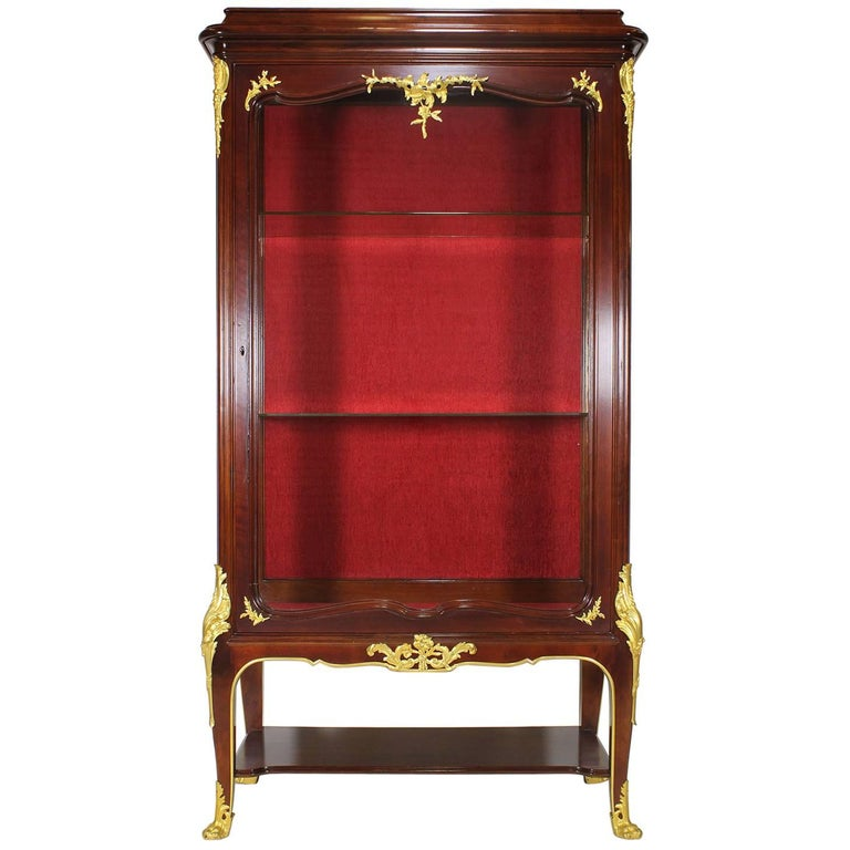 French, 19th-20th Century Louis XV Style Gilt Bronze-Mounted Vitrine by Haentges For Sale