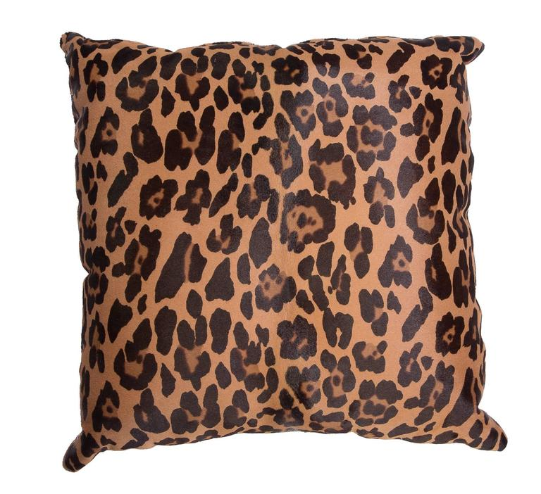 French Leopard Stencil Calf Hair Pillow For Sale