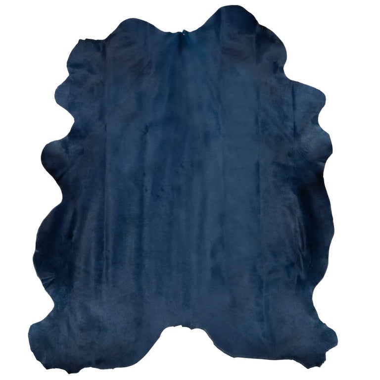 Navy Blue Contemporary Cow Hide Hair Rug For Sale