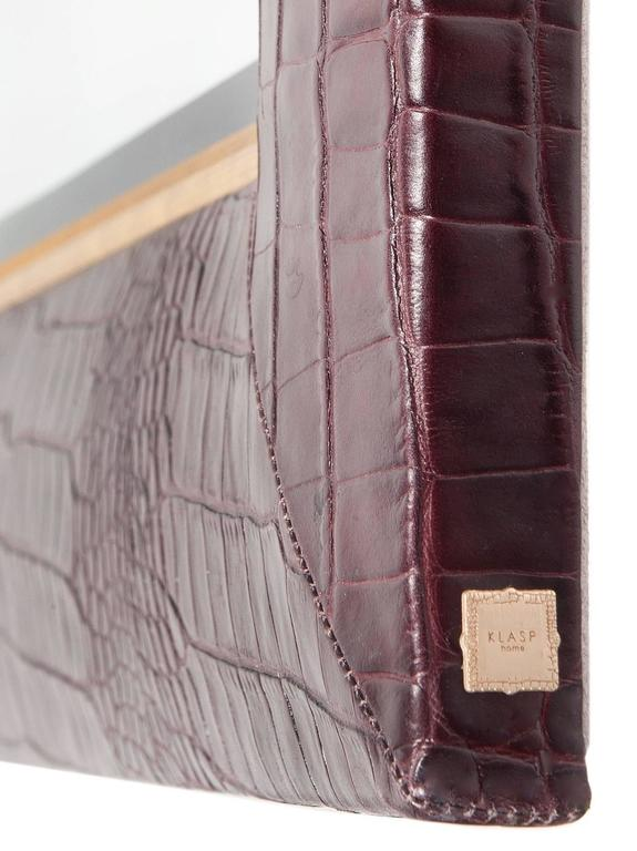 Mid-Century Modern Bordeaux Croc Embossed Leather Framed Mirror with Champagne Gold Detailing For Sale