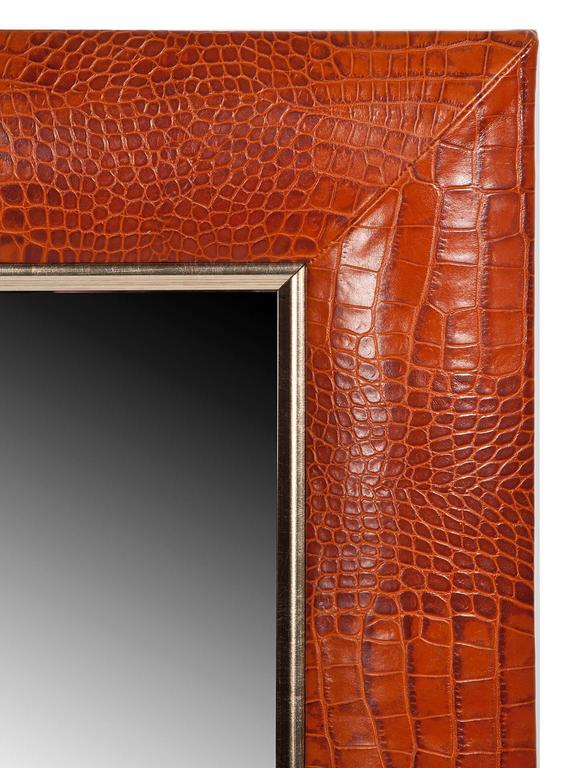 Cognac embossed crocodile Italian leather with champagne gold detailing.