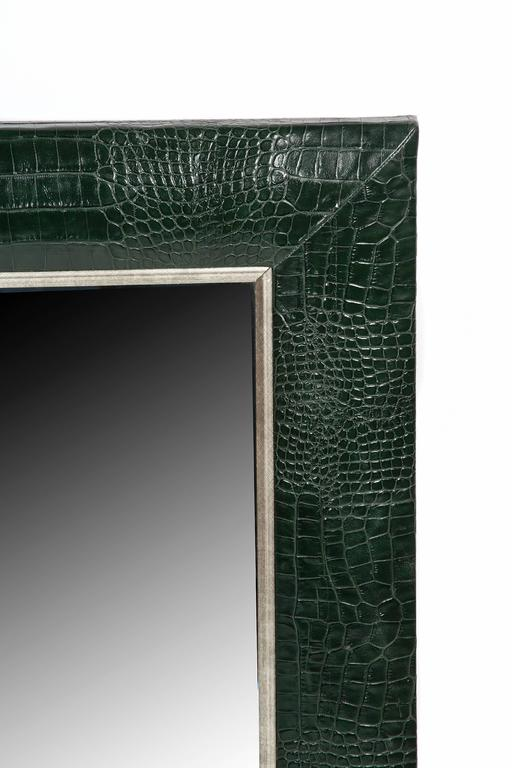 Adirondack Classic Hunter Green Croc Leather Framed Mirror with Silver Details For Sale