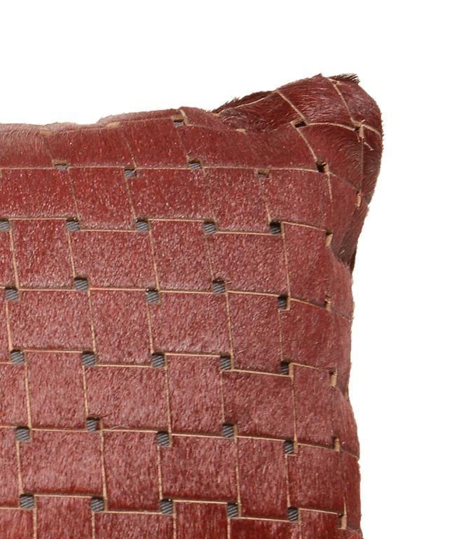 Adirondack Pair of Contemporary Burgundy Laser Cut Cowhide Hair Lumbar Pillow For Sale