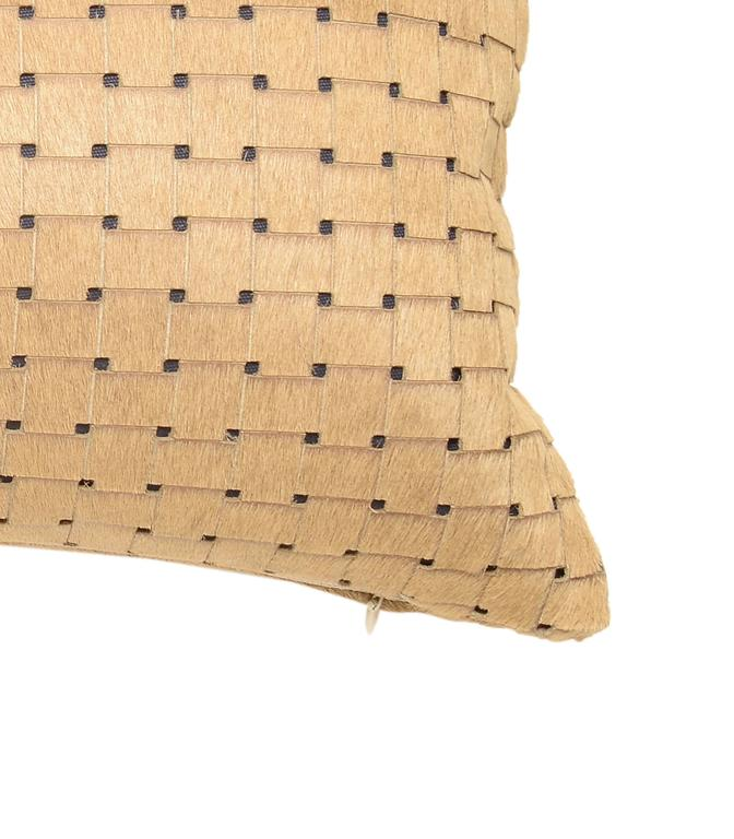 French Beige Laser Cut Cowhide Hair Lumbar Pillow For Sale