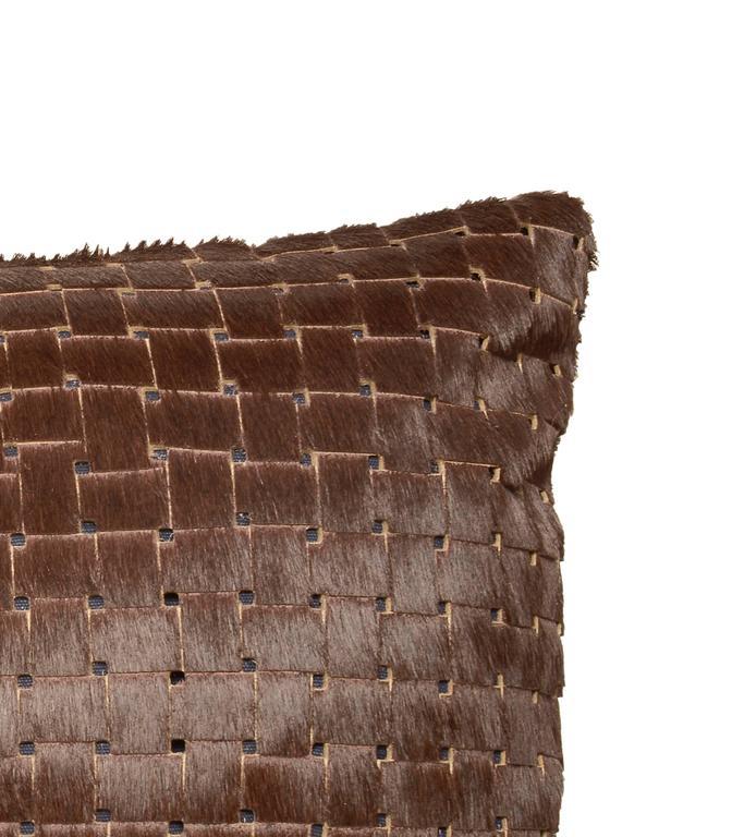 Adirondack Chocolate Brown Laser Cut Cowhide Hair Lumbar Pillow For Sale