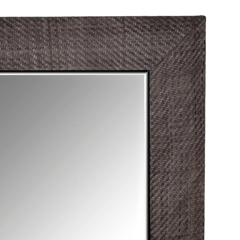 Hand-Woven London Storm Grey Leather Framed Beveled Mirror 2