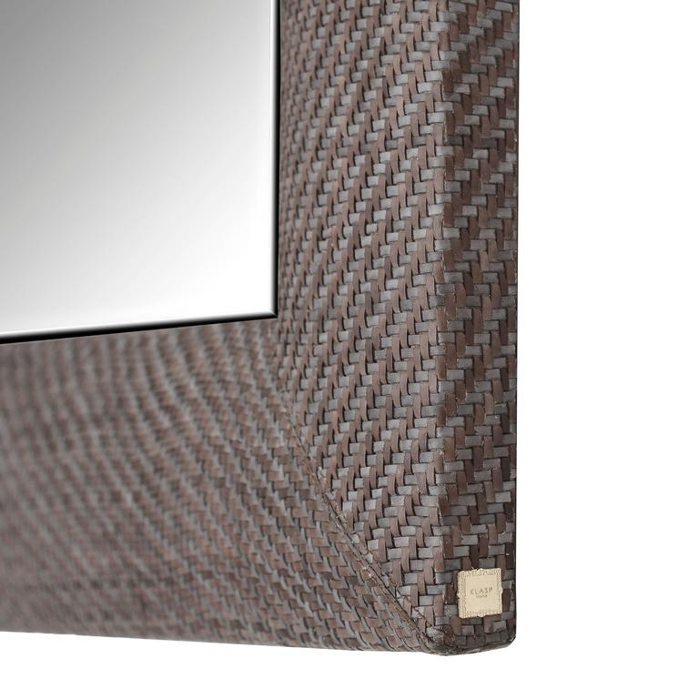 Hand-Woven London Storm Grey Leather Framed Beveled Mirror 3