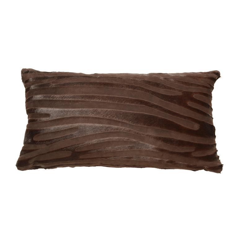 Contemporary laser cut zebra print cowhide hair lumbar pillows. Luxurious high sheen cowhide origin Normandy, France.  Chocolate brown.  Zebra print laser cut pattern.  Measures: 12
