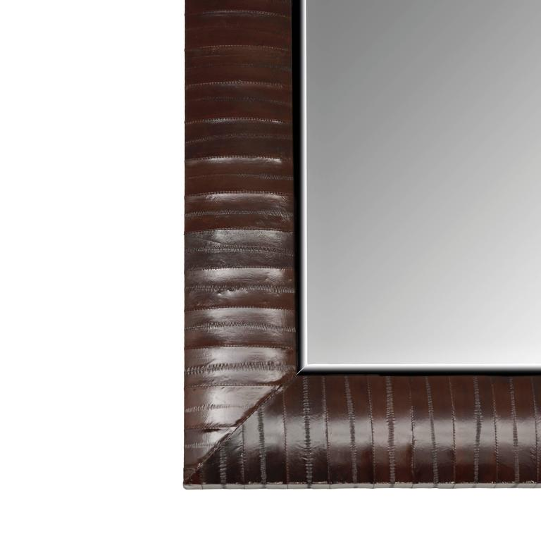 Contemporary Genuine Chocolate Brown Eel Skin Framed Beveled Mirror by KLASP  2