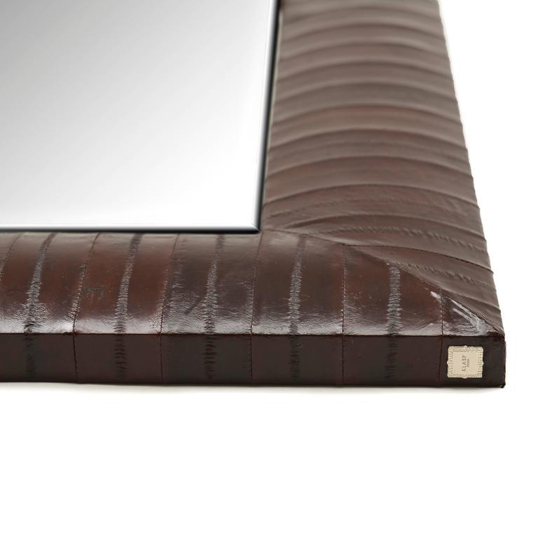 Contemporary Genuine Chocolate Brown Eel Skin Framed Beveled Mirror by KLASP  3