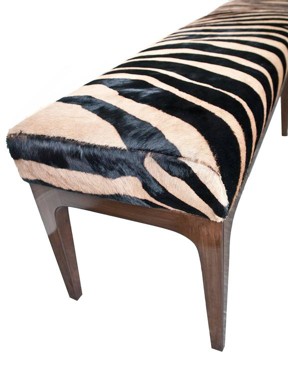 American Mid-Century Modern Style Zebra Stenciled Cowhide Hair Upholstered Bench For Sale