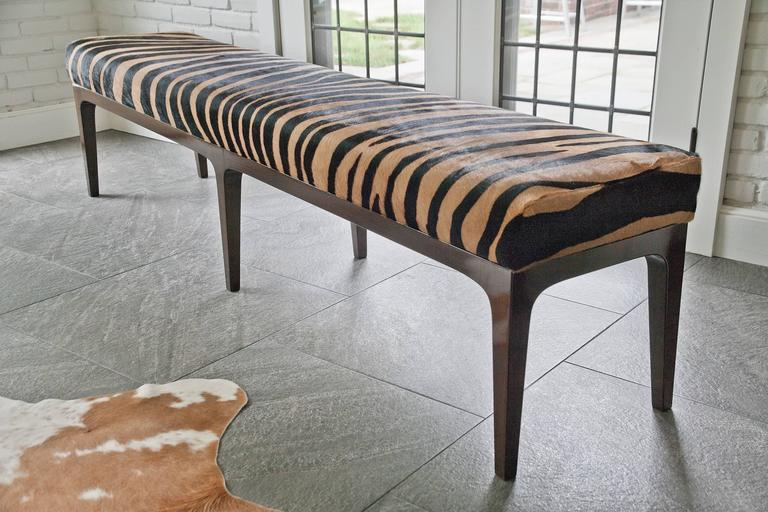 Dyed Mid-Century Modern Style Zebra Stenciled Cowhide Hair Upholstered Bench For Sale