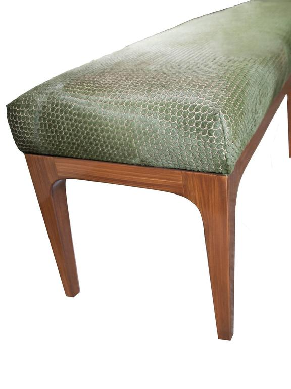 KLASP home Mid-Century Modern Style laser cut cowhide 6 foot bench.