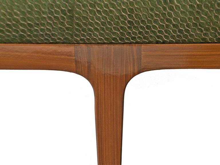 American Mid-Century Modern Style Laser Cut Cowhide Hair Upholstered Bench For Sale