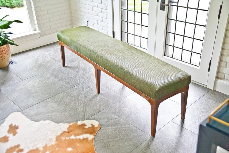 Dyed Mid-Century Modern Style Laser Cut Cowhide Hair Upholstered Bench For Sale