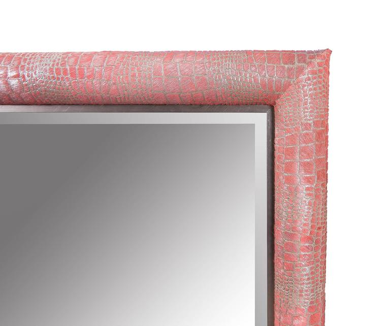 Contemporary crocodile laser cut pattern watermelon pink dyed cowhide framed mirror by KLASP home.