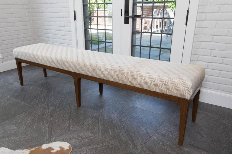 American Raphael Bench Mid-Century Modern Style Diamond Laser Cut Cowhide Bench For Sale