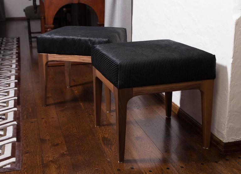 Contemporary PAIR of Mid-Century Modern Style Laser Cut Black Cowhide Walnut Ottomans For Sale