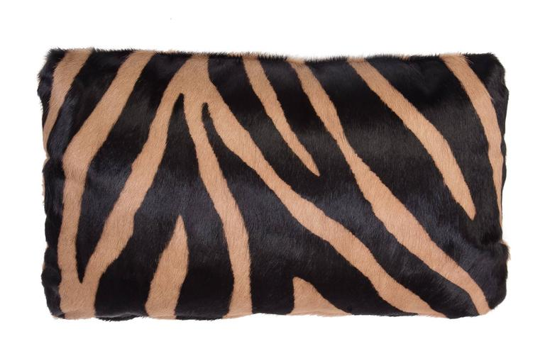 American Classical Contemporary Zebra Stencil Cowhide Hair Lumbar Pillow, 100% Feather Filled For Sale