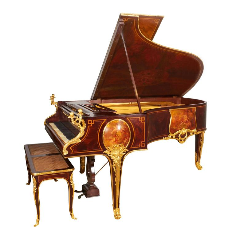 French Ormolu-Mounted Kingwood and Vernis Martin Piano by Pleyel and Barbedienne