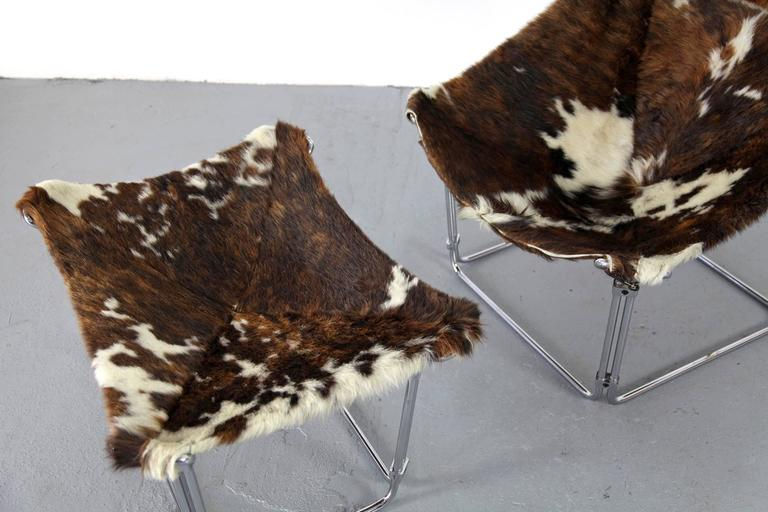 French Cowhide Lounge Chair with Ottoman by Kwok Hoi Chan Produced by Steiner, Paris For Sale