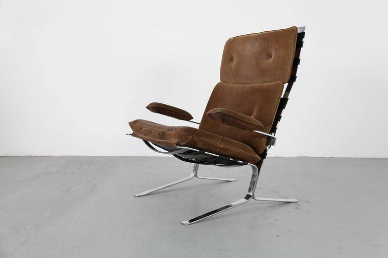 """Suede Lounge Chair """"Joker"""" by Olivier Mourgue for Airborne In Good Condition For Sale In Munster, NRW"""