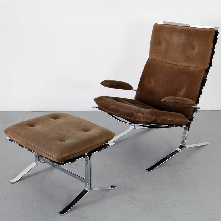 """Mid-Century Modern Suede Lounge Chair """"Joker"""" by Olivier Mourgue for Airborne For Sale"""