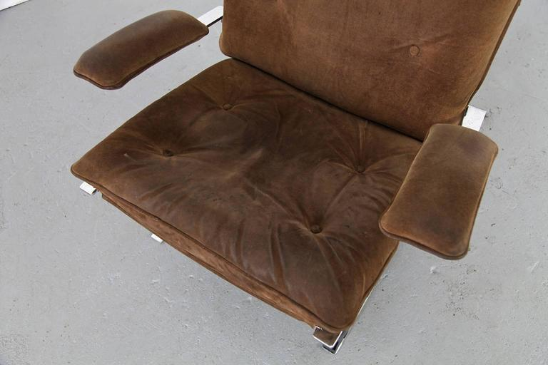 """Suede Lounge Chair """"Joker"""" by Olivier Mourgue for Airborne For Sale 1"""