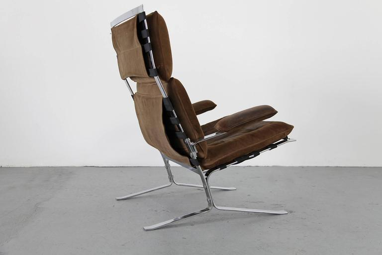 """Suede Lounge Chair """"Joker"""" by Olivier Mourgue for Airborne For Sale 3"""